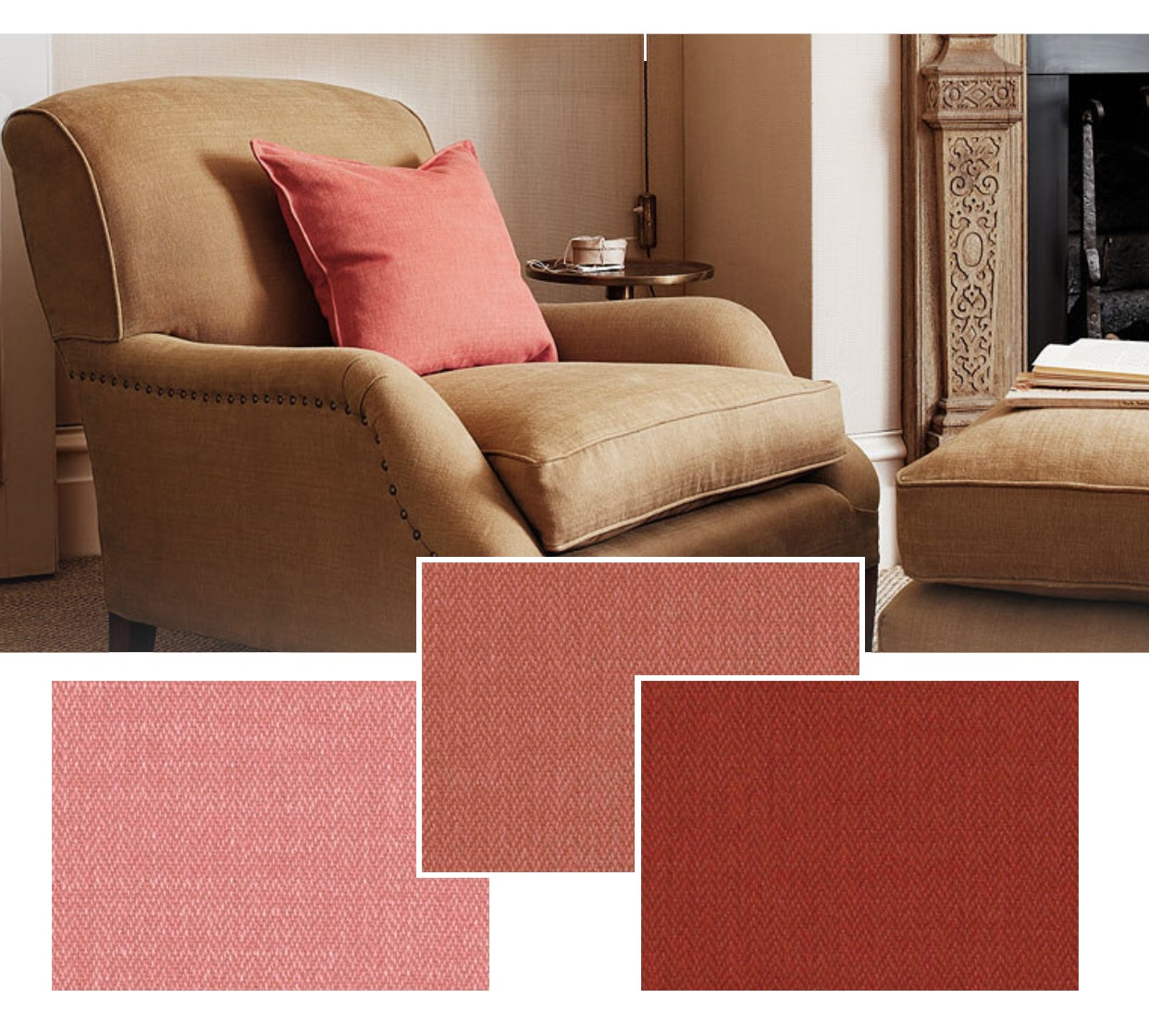 Romo Miro light brown chair with salmon colored pillow - Originals Interiors