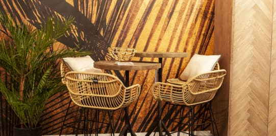 Bar set with bamboo chairs amd palm plant - Original Interiors