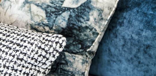 Blue pillows with print - Original Interiors