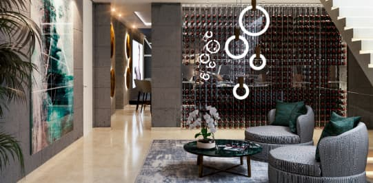 Lobby seating area grey chairs abstarct wall are wine storage round lamps - Original Interiors