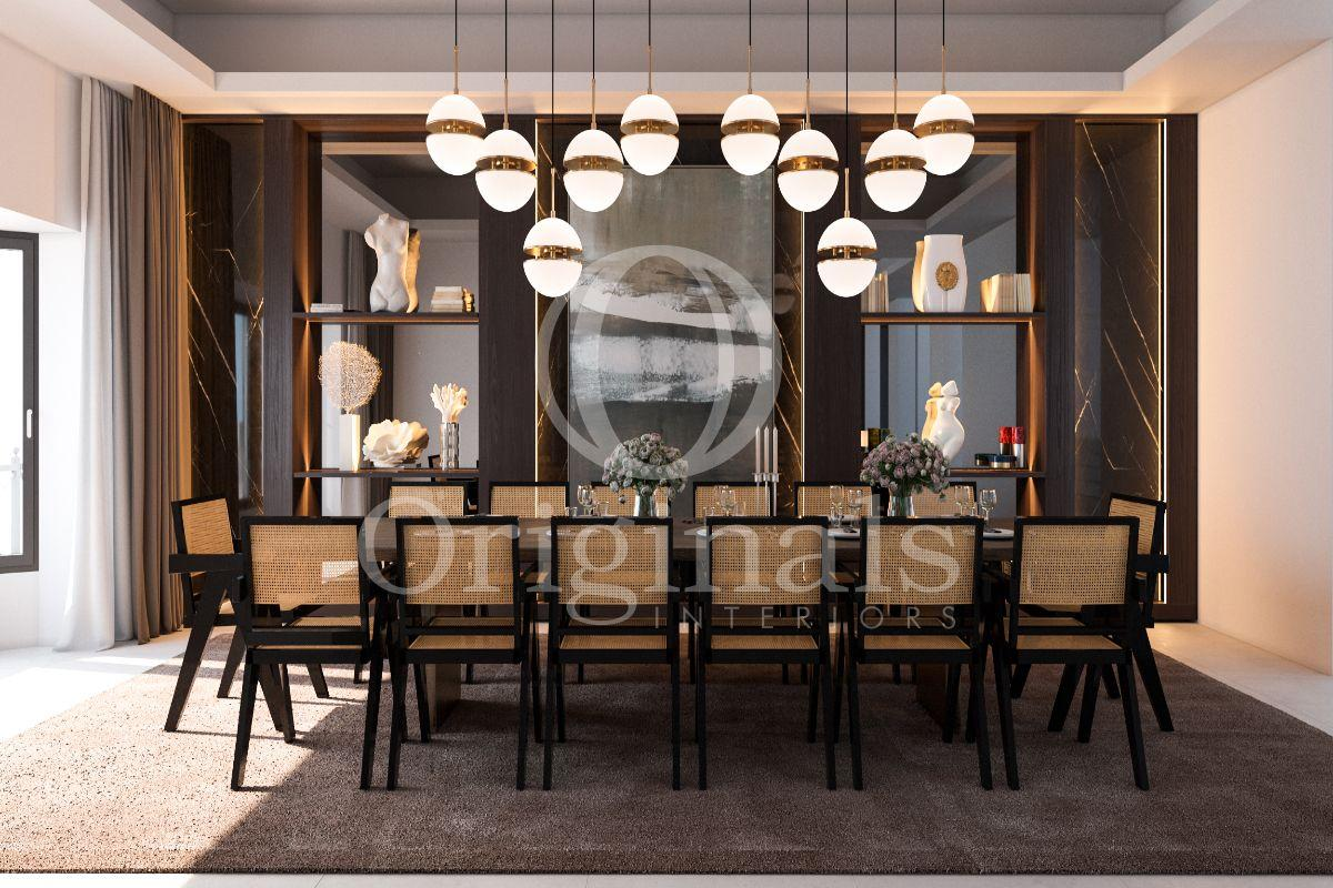 Dining area with large table and dark background with back lighting - Originals Interiors