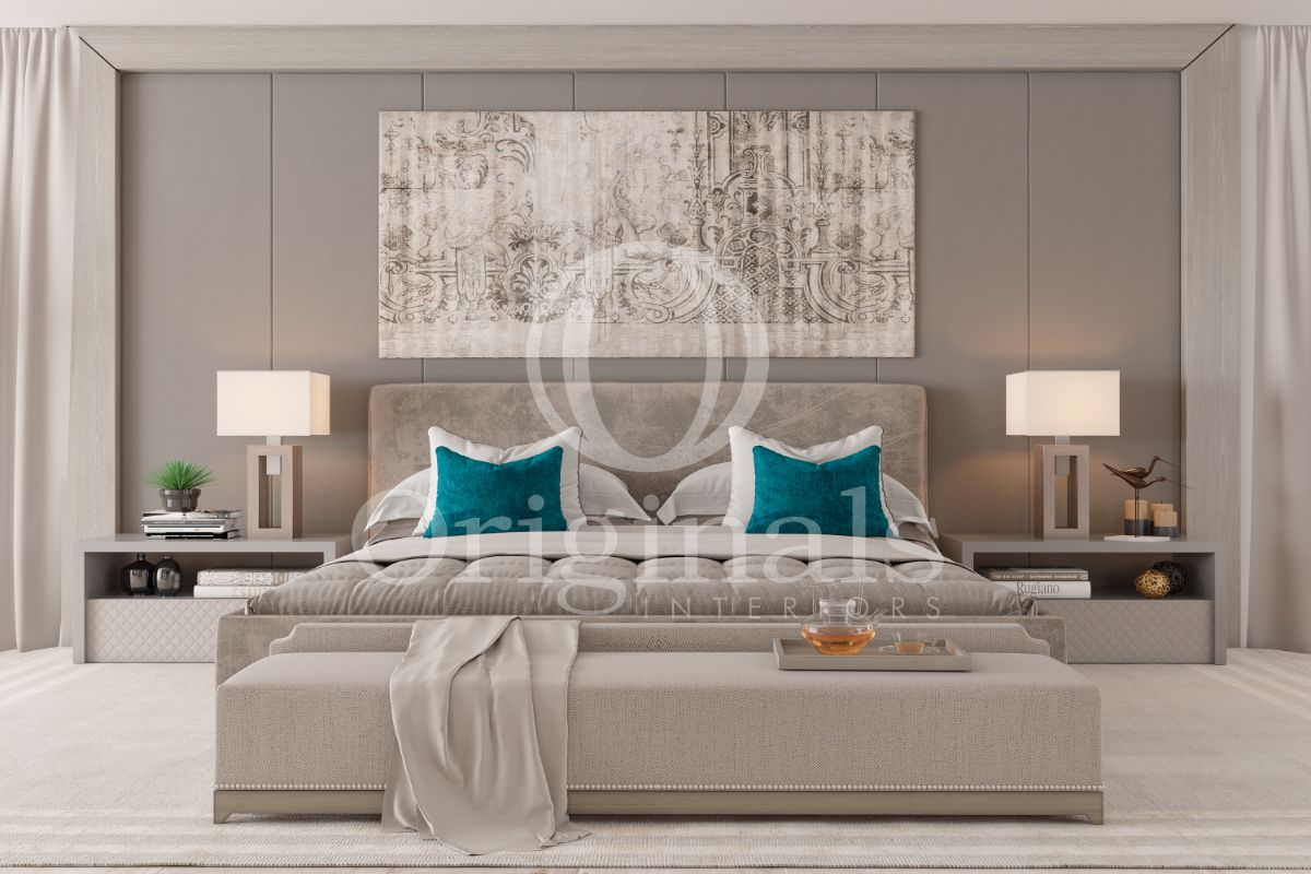 bedroom with grey walls and a large artwork on the wall - Original Interiors