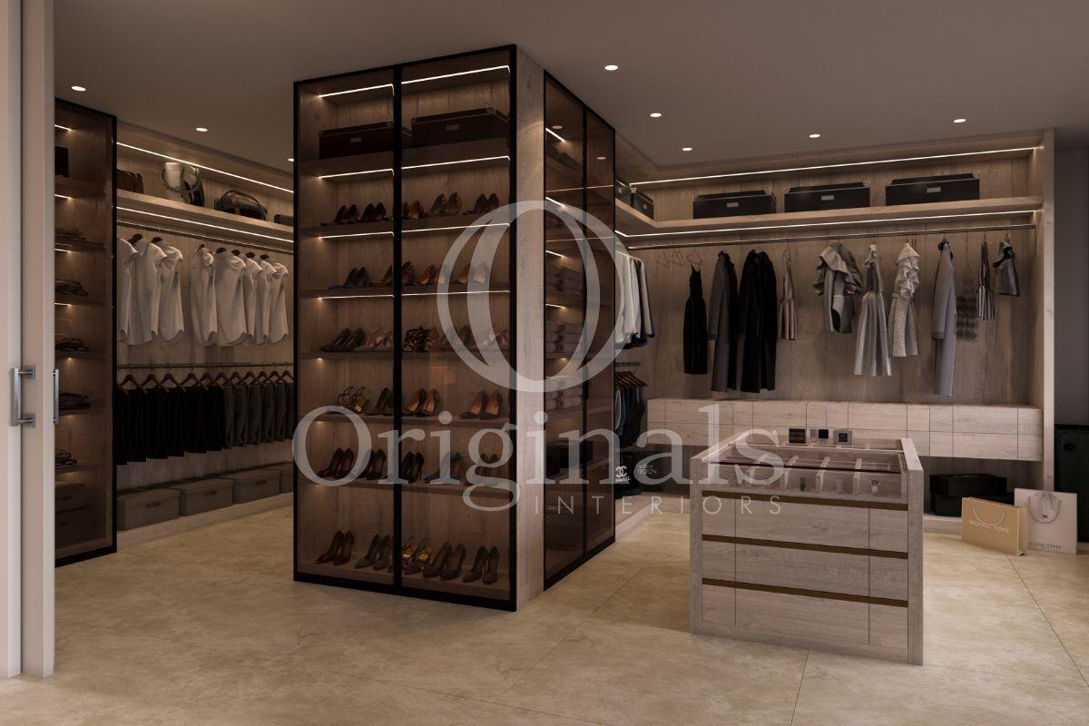 Walk in closet with glass shoe closet - Originals Interiors