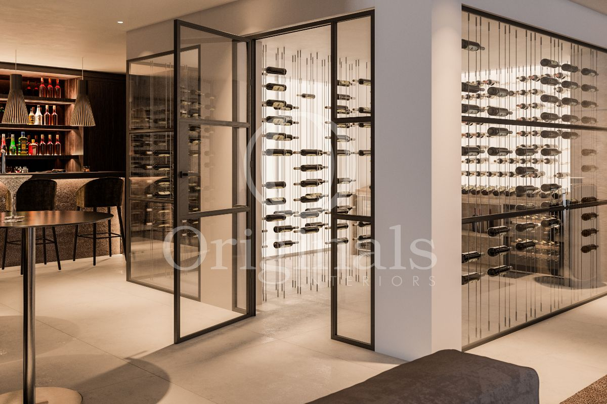 Wine chamber with look-trough glass walls - Originals Interiors