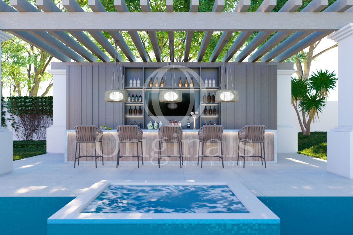 Outside bar made out of wood with white hard floor and wooden bar chairs - Originals Interiors
