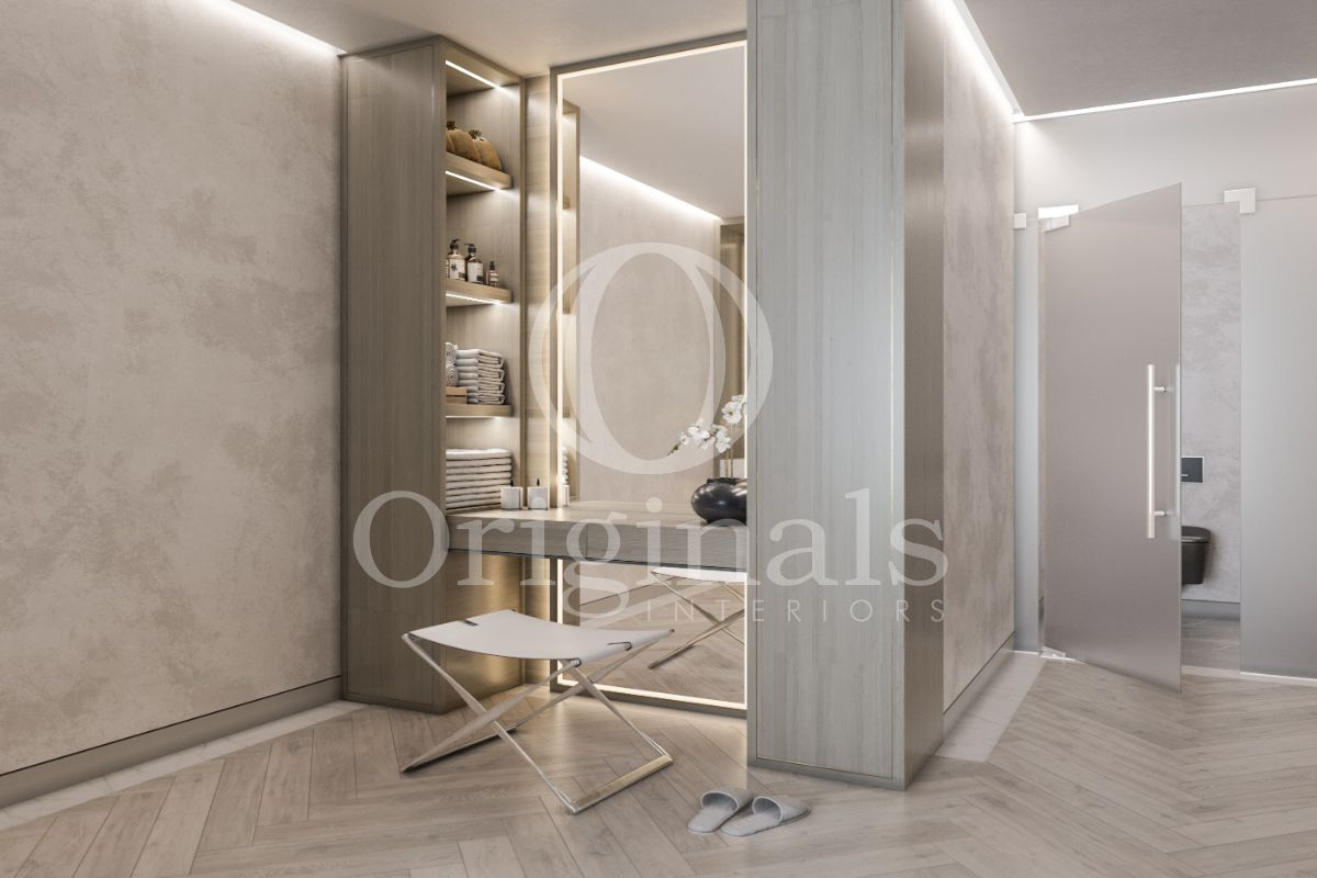 Large mirror with back lighting, grey wooden shelves, a wooden floor and light grey walls - Originals Interiors