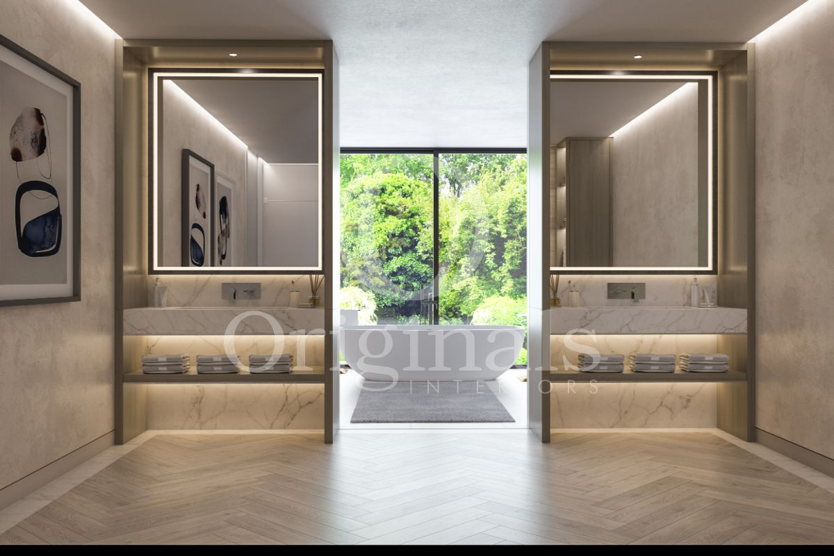 Bathroom with wooden floor, grew light-grey walls, white marble, mirrors with back lighting, a white bathtub and a large window - Originals Interiors