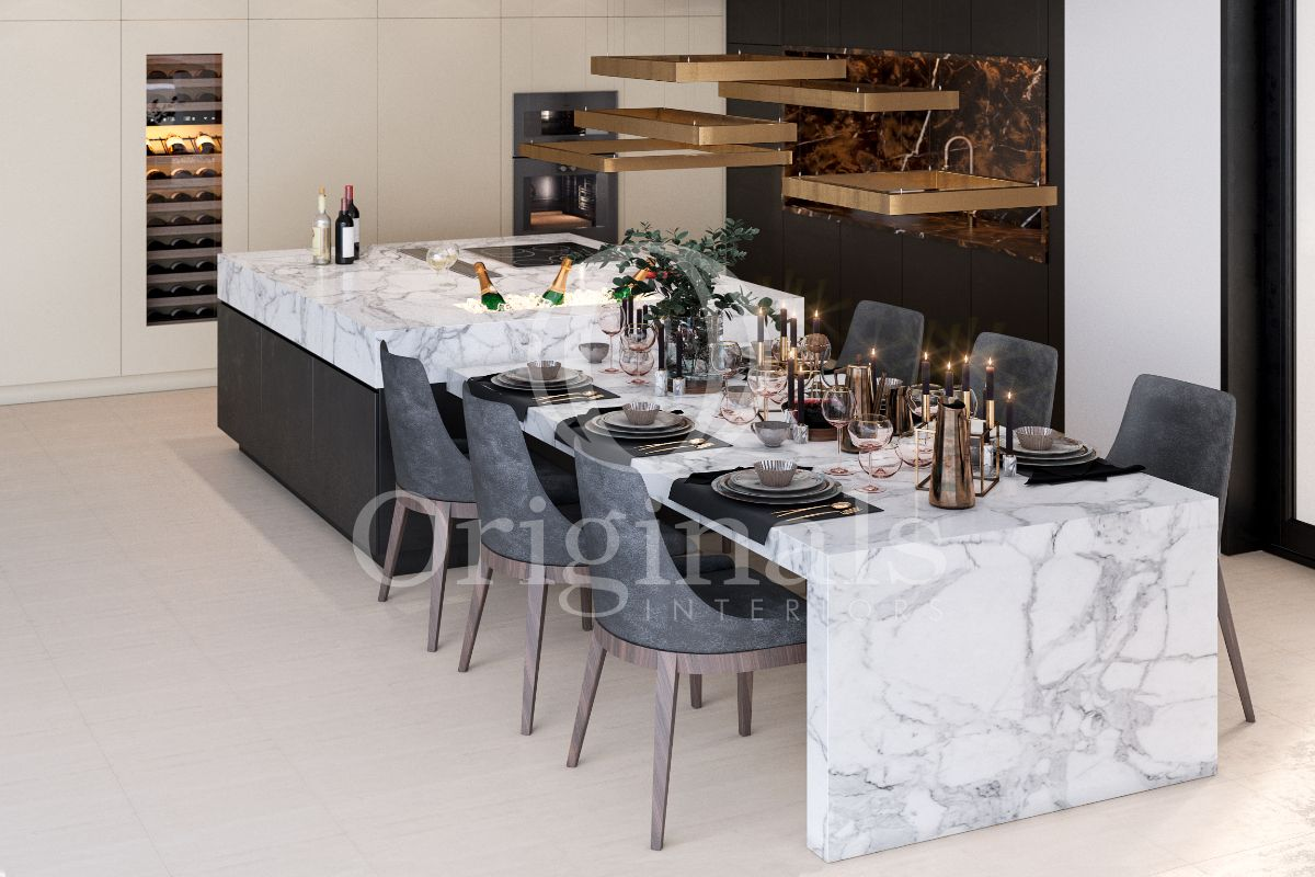 Dining area with marble tables and black chairs with golden lamps and a white floor and a wine holder - Originals Interiors