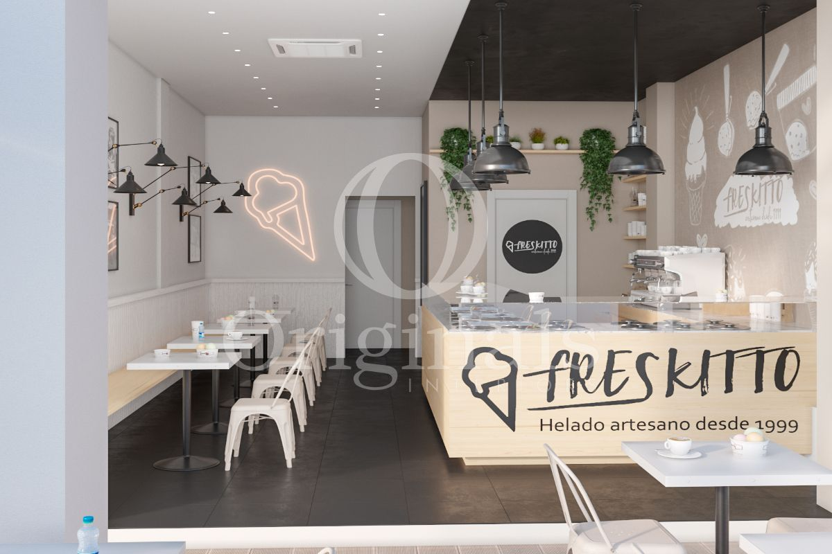 Cafe with wooden counter, beige background, dark floor and white tables - Originals Interiors