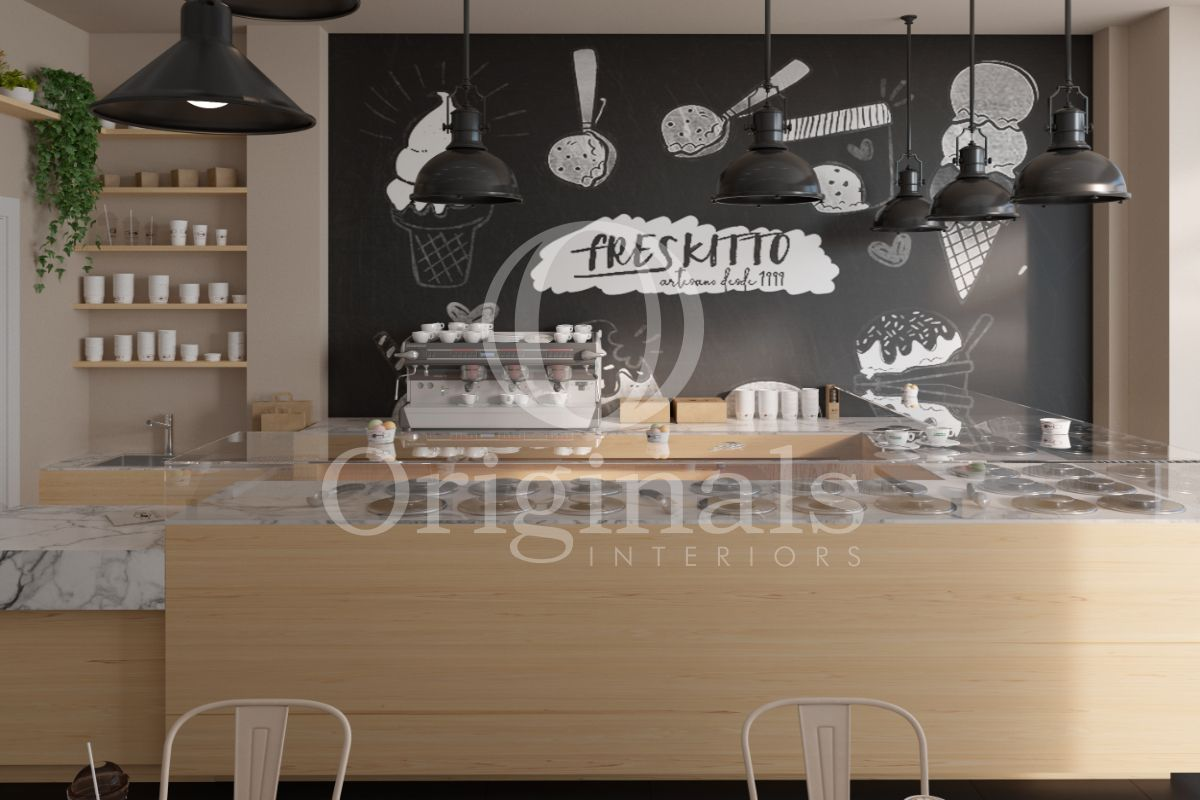 Cafe with wooden counter, dark background and marble accents - Originals Interiors