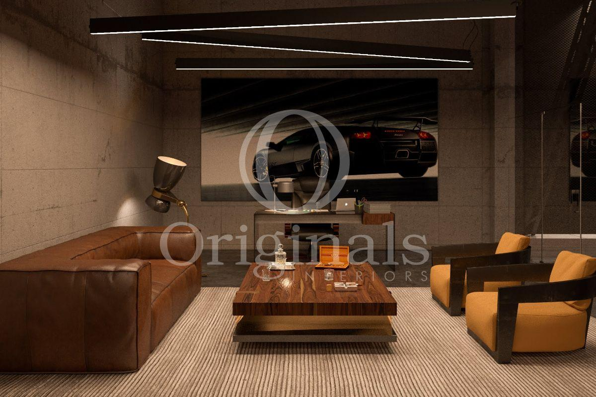 A lounge area with a large car painting on the wall, a brown sofa and yellow chairs - Originals Interiors