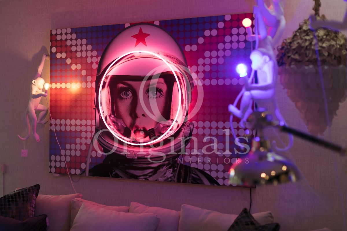 British flag background with astronaut and pink and blue lighting - Originals Interiors