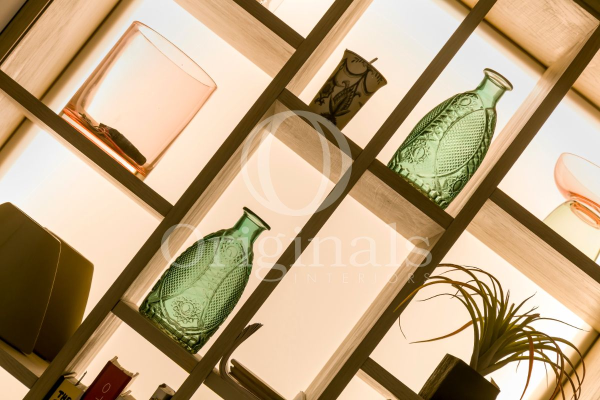 Wooden designer shelf with back lighting and green vases - Originals Interiors