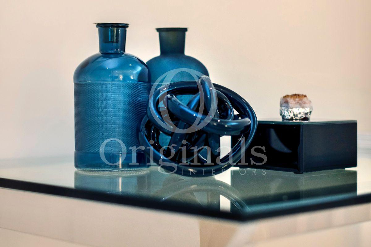 Ocean Blue accessories on glass table - Originals Interiors