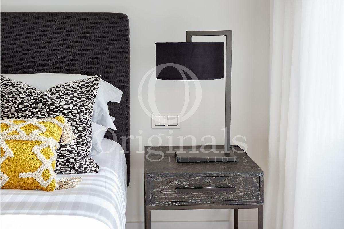 Black Designer lamp on little cupboard - Originals Interiors